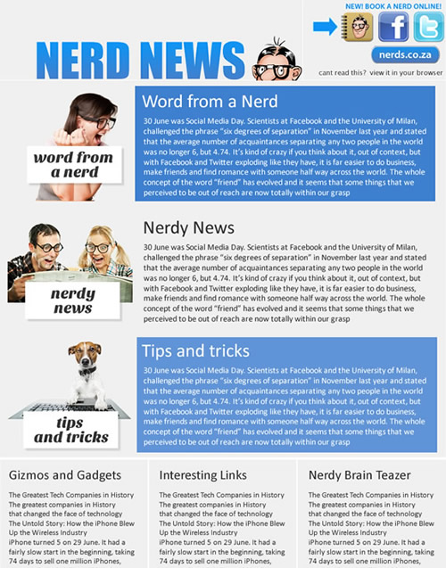 dial a nerd Emailer cape town web design